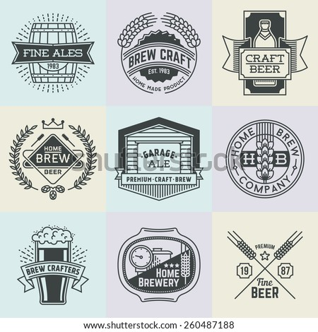 Assorted retro design insignias line art logotypes home brewery set 1. Vector high quality vintage elements. - stock vector