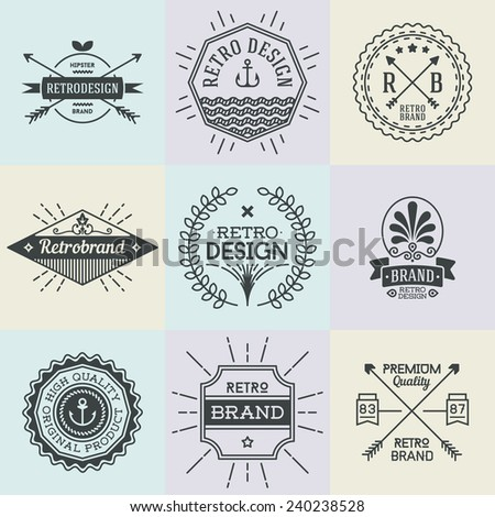 Assorted retro design insignias logotypes set 1. Vector vintage elements.   - stock vector