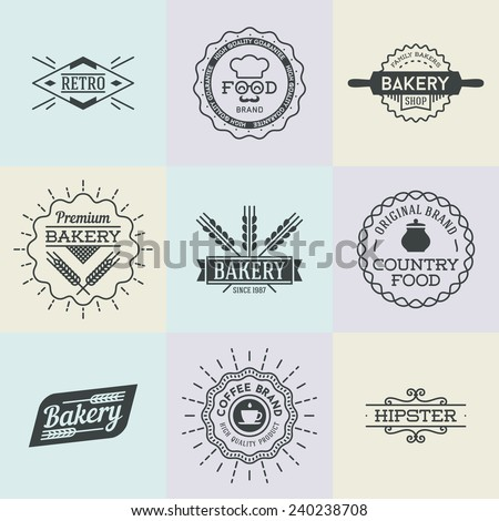 Assorted retro design insignias logotypes set 2. Vector vintage elements.   - stock vector