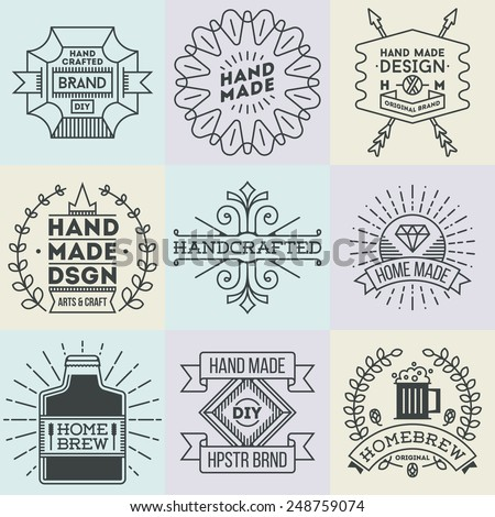 Assorted retro design insignias logotypes set 11. Vector vintage elements. - stock vector
