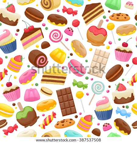 Assorted sweets colorful seamless background. Lollipops cake macarons chocolate bar candies and donut pattern. - stock vector