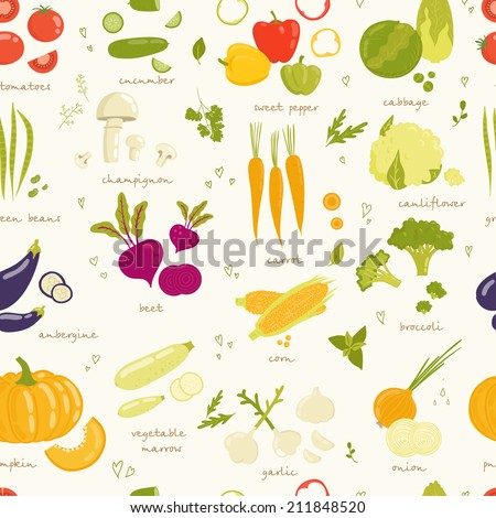 Assorted vegetable vector seamless pattern. tomato, cucumber, pepper, cabbage, broccoli, cabbage, eggplant, beans, peas, squash, garlic, onions, corn, beets, greens, carrots, mushrooms isolated - stock vector
