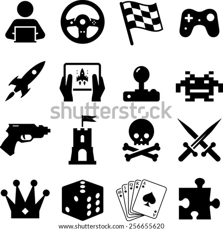 Assorted Video Game Icons Symbols Stock Vector Royalty Free