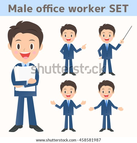Assortment of male company employee about the description