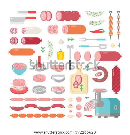 Assortment variety of processed cold meat products vector icons. Variety of food delicious meat icons products and sausage meat products vector icons. - stock vector