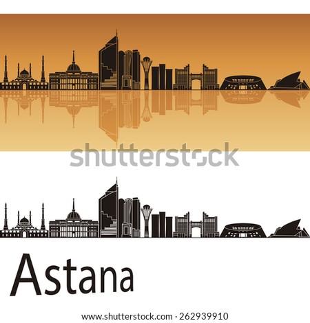 Astana skyline in orange background in editable vector file - stock vector
