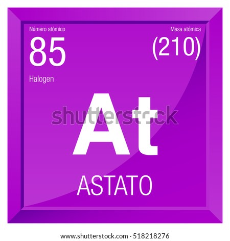 Astato Symbol   Astatine In Spanish Language   Element Number 85 Of The Periodic  Table Of
