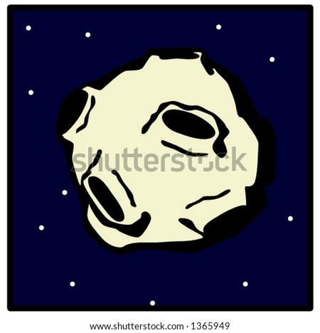 asteroid flying in the space - stock vector