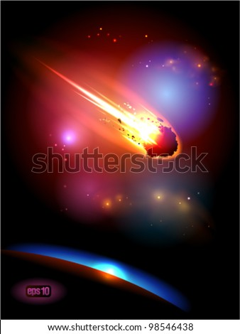 Asteroid is approaches the planet. Eps 10. - stock vector