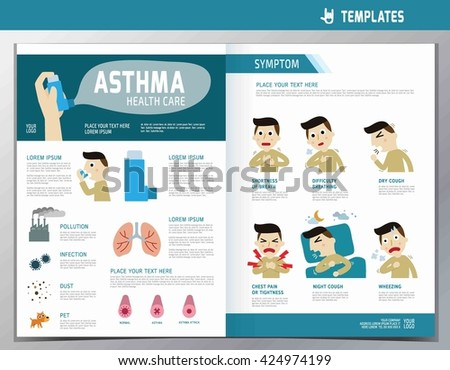 Asthma Infographic Flyer Template A Size Design Flat Stock Vector - Asthma brochure template