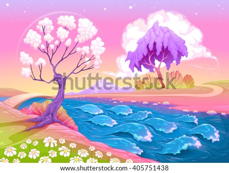 Astral landscape with trees and river - stock vector
