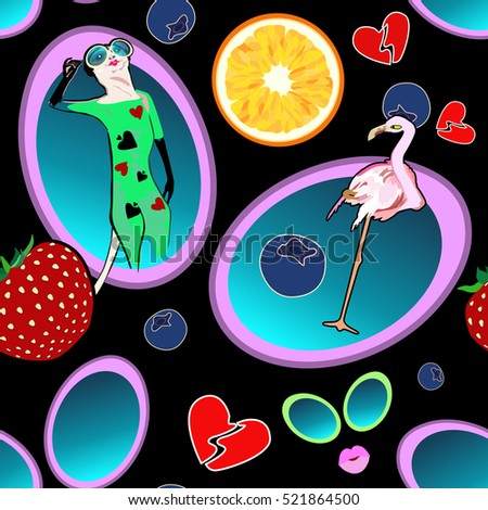 Astration fashion  patch badges lips, hearts, kiss, flamingos, meerkats, sunglasses. Vector draw color print Set of stickers, pins, patches cartoon, comic style pattern animals, Scream
