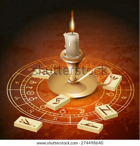 Astrological background with a candle. Vector illustration - stock vector