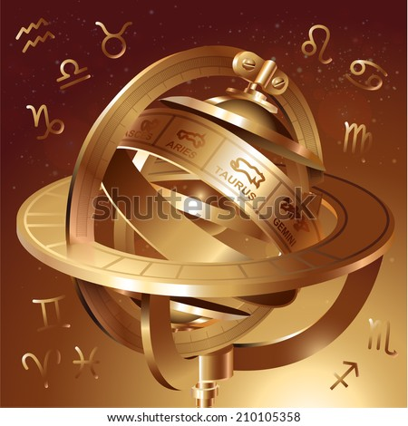 Astrological background with astrolabe. Vector illustration - stock vector
