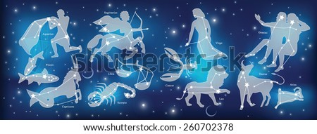 Astrological constellation of the zodiac signs - stock vector
