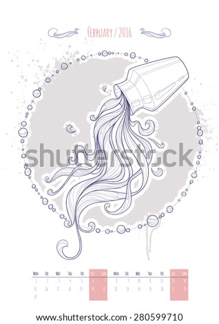 Astrological sign of the zodiac. Icon Aquarius drawn in a linear style. Decoration in vintage style. Vector illustration. - stock vector