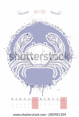 Astrological sign of the zodiac. Icon Cancer drawn in a linear style. Decoration in vintage style. Vector illustration. - stock vector