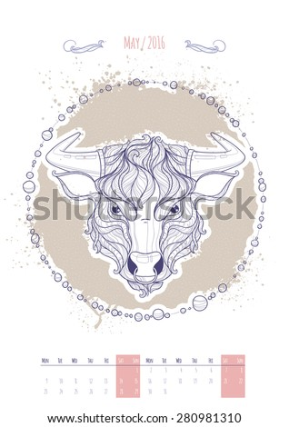 Astrological sign of the zodiac. Icon Taurus drawn in a linear style. Decoration in vintage style. Vector illustration. - stock vector