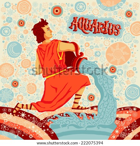 Astrological zodiac sign Aquarius. Part of a set of horoscope signs. Vector illustration. - stock vector