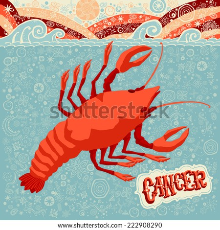Astrological zodiac sign Cancer. Part of a set of horoscope signs. Vector illustration. - stock vector