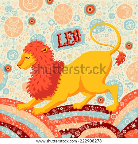 Astrological zodiac sign Leo or Lion. Part of a set of horoscope signs. Vector illustration. - stock vector