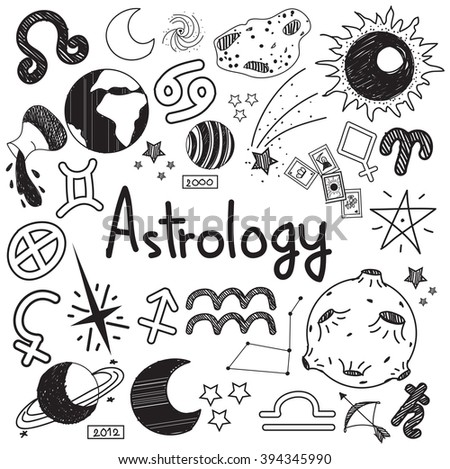 Astrology and fortunetelling doodle handwriting sketch sign and symbol in white isolated background paper used for presentation title or subject introduction, create by vector - stock vector
