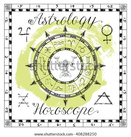 Astrology set for zodiac sign Libra or Scales. Line art vector illustration of engraved horoscope symbol. Doodle mystic drawing and hand drawn sketch with calligraphic lettering - stock vector