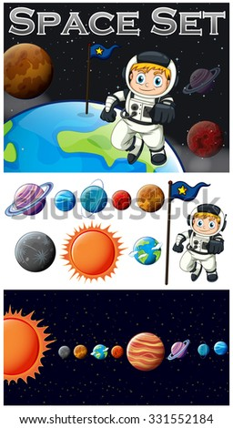 Astronaunt and solar system illustration