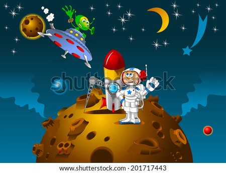 astronaut and alien met on a distant planet, vector