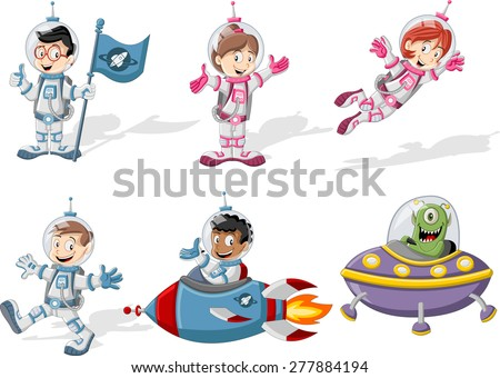 Astronaut cartoon characters in outer space suit with a alien spaceship  - stock vector