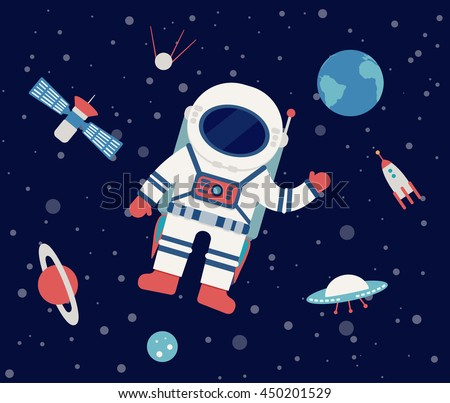 Astronaut Floating Outer Space Set Planet Stock Vector ...