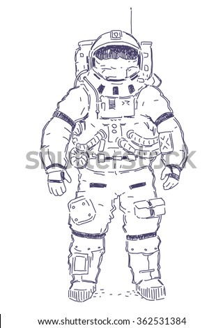 Astronaut hand drawn vector illustration isolated on white background - stock vector