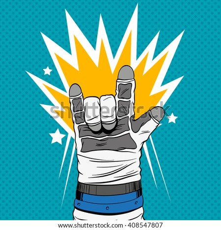 Astronaut hand shows rock sign, hand drawn vector illustration. Comics style