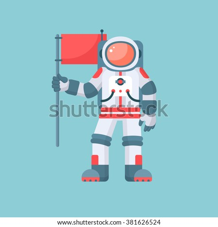 Astronaut holding red flag vector illustration. Single astronaut in spacesuit and helmet isolated on blue background. Modern flat style design - stock vector