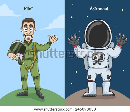 Astronaut in space suit and pilot thumbs up characters vector illustration - stock vector