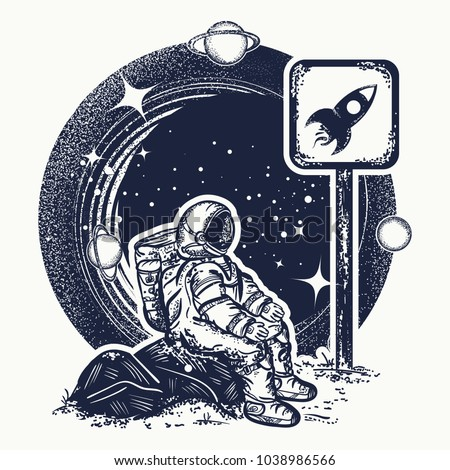 Astronaut in space tattoo and t-shirt design. Symbol of startup, space tourism, dream, imagination