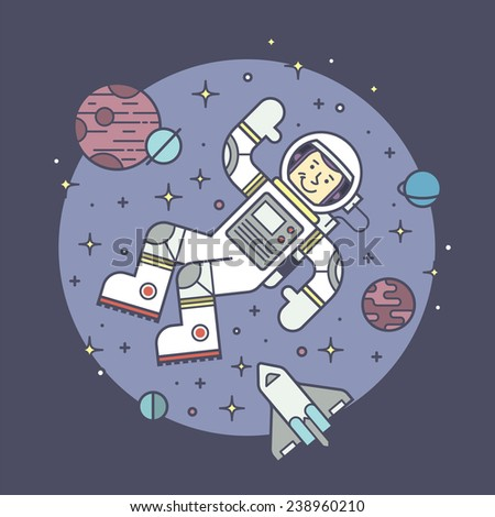 Astronaut in space. Vector illustration. - stock vector