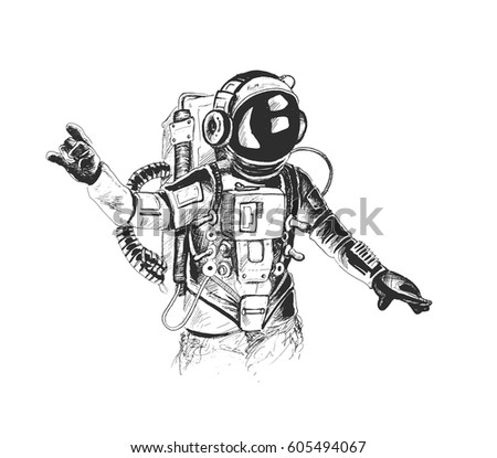 Astronaut in spacesuit raises hand, Hand Drawn Sketch Vector illustration.