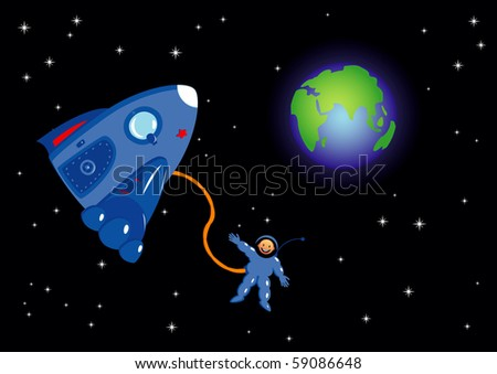 Astronaut in the space. Vector illustration. - stock vector