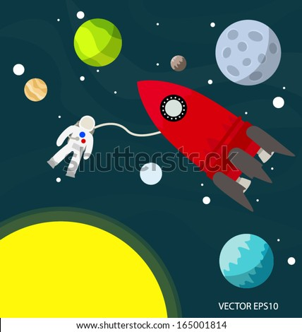 Astronaut in the space with rocket and planets vector  - stock vector