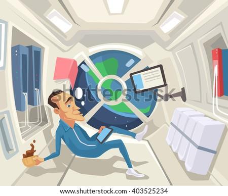 Astronaut in zero gravity. Vector flat cartoon illustration - stock vector
