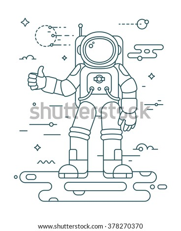 Astronaut landing on a planet - thin outline vector illustration in trendy style. Space exploration and colonization concept. Astronaut in outer space. Outline space series - stock vector