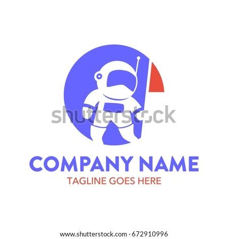 Astronaut Logo Template Stock Vector 672910996 - Shutterstock