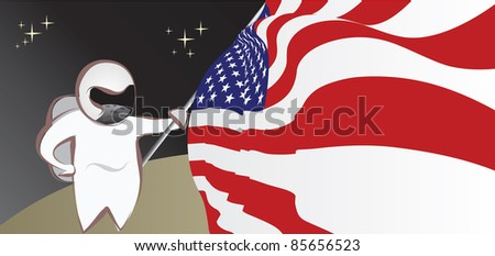 Astronaut on moon with USA Flag
