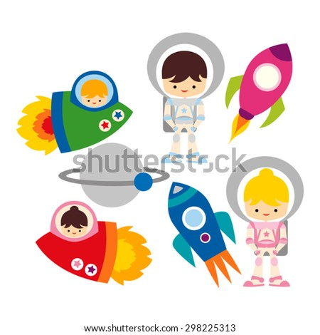 Astronaut. Out of this world. Cute vector.