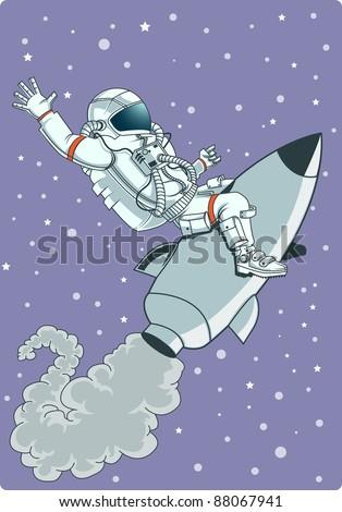 astronaut riding rocket - stock vector