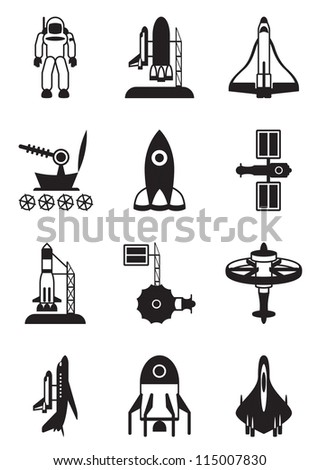 Astronaut, space shuttle and spaceship - vector illustration - stock vector