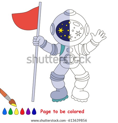 Astronaut Flag Coloring Book Educate Preschool Stock Vector ...