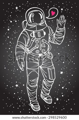 Astronaut with heart. Cosmonaut with raised hand in salute. Speech bubble with tiny pink heart. Hand drawn spacesuit illustration. White stroke. - stock vector