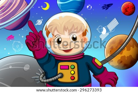 Astronaut with planets concept illustration